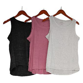 Danskin Women's Top Set Of 3 Heather Knit Tank Top Pink
