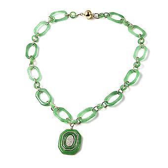 """87 Ct. Zelený nefrit a kambodžský náhrdelník Zircon ve žlutém pozlaceném stříbru 20"""""""