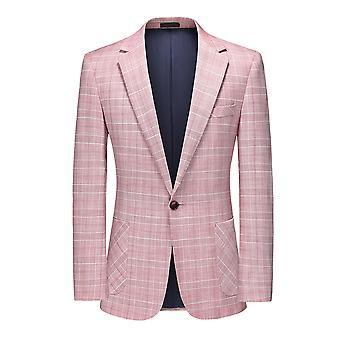 Mile Mens Casual Blazer 1 Button Suit Jacket Slim Fit Plaid Suits Blazer Tweed Check Suit Tuxedo