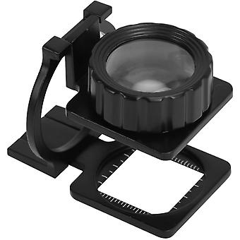 15x Three-folding Stand Magnifying Glass Metal Optical Loupe Handheld