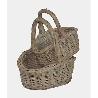 Handle Basket Childs White Vask Shopper sett 2