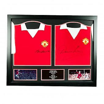 Manchester United Charlton & loven undertegnet skjorter (dobbel innrammet)