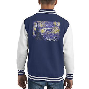 Étoilé Delorean retour pour Varsity Jacket le futur de l'enfant