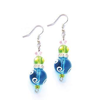 Tropical strass azul brilhante vidro frisado Kate e Macy ' s brincos