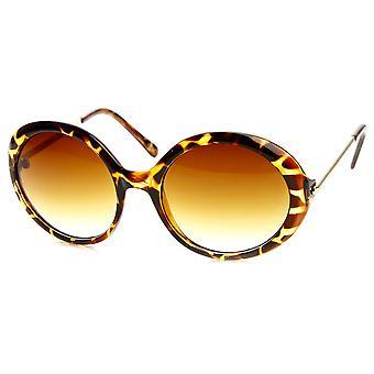 المرأة أزياء المتضخم معدنية ذراع دائرة مستديرة النظارات الشمسية