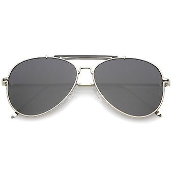 Classic Metal dupla ponte de nariz fino Super templo óculos de aviador lente plana 57mm