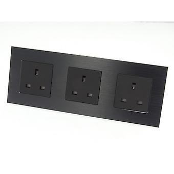 I LumoS Luxury Unswitched Black Brushed Aluminium UK 13A Wall Plug Triple Socket