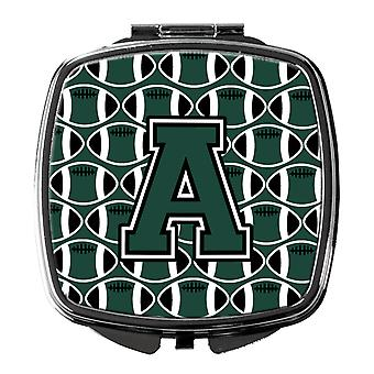 Letter A Football Green and White Compact Mirror