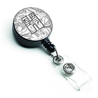 Letter H Musical Note Letters Retractable Badge Reel