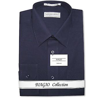Biagio mäns 100% bomull fast klänning skjorta w / Cabriolet muddar