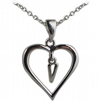 Silver 18x18mm initial V in a heart Pendant with a rolo Chain 20 inches