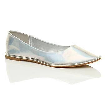 Ajvani Womens Diamante trim Spitzen Zehen flach Slip-on Netz Dolly Ballettschuhe Komfort