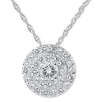 3/4 ct ダイヤモンド ダブル ハロー ペンダント 14 K ホワイトゴールド
