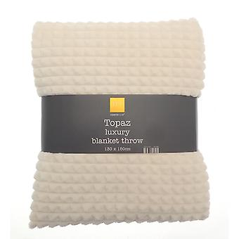 Country Club Topaz Luxury Blanket Throw 130 x 150, Ivory