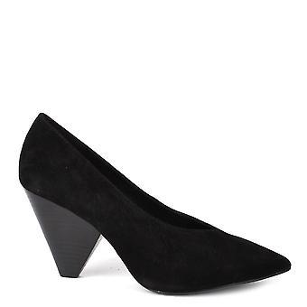 الرماد صفقة أحذية جلدية سوداء مضخة الكعب