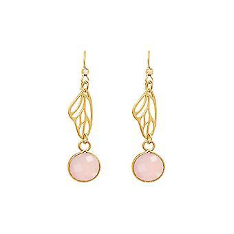 Gemshine Ohrringe Silber Vergoldet Schmetterling Flügel Rosenquarz Rosa 4 cm