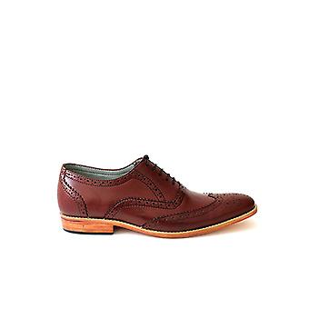 Handcrafted Premium Leather Crown Brogue Burgundy Leather