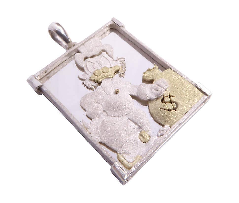 Gold and silver Dagobert Duck pendant
