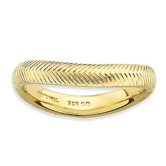 3.25mm 925 Sterling Silver Textured Empilable Expressions Poli 14k Gold PlatedWave Ring Bijoux Cadeaux pour