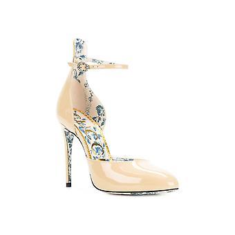 Gucci høye hæler pumper sko i sand patentlær