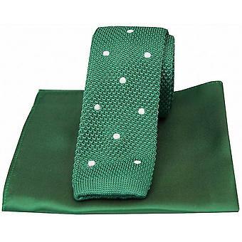Дэвид ван Хаген пятнистый тонкие трикотажные шелковый галстук и простой платок Set - зеленый/белый