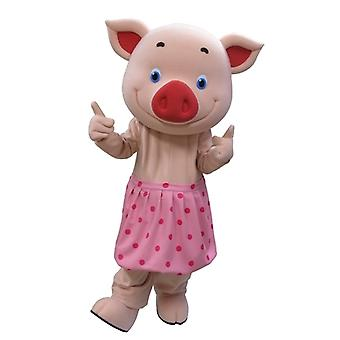 mascot pig SPOTSOUND pink with blue eyes and a skirt with polka dots