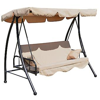 Outsunny Outdoor 2-in-1 Patio Swing Chair Lounger 3 Seater Garden Bench Hammock Bed Convertible Tilt Canopy W/ Cushion, Beige