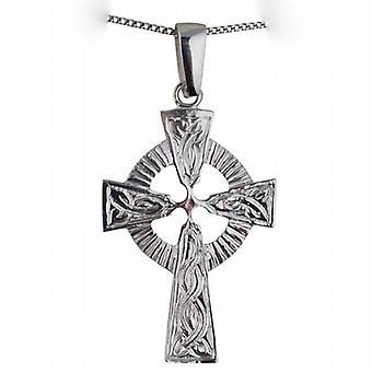 Sølv 40x28mm preget mønster keltisk kors med kausjon på en fortauskant kjeden 24 inches