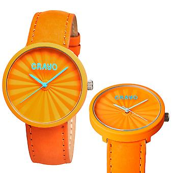 Crayo Pleats Leather-Band Unisex Watch - Orange