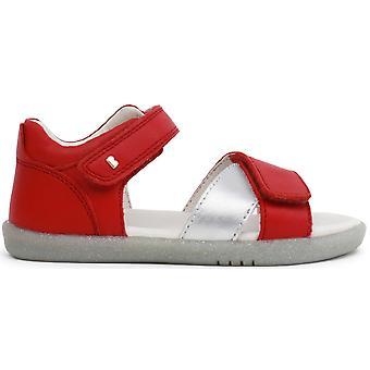 Bobux I-walk Girls Sail Sandals Red Misty Silver