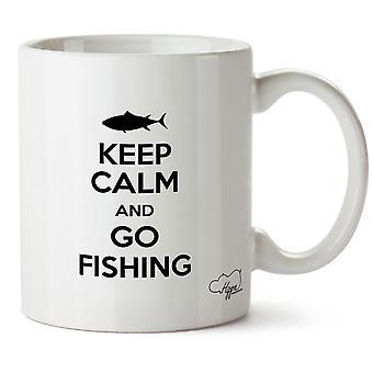 Hippowarehouse holde rolig og gå fiske trykt krus Cup keramiske 10 Unzen