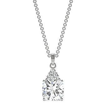 Moissanite de ouro branco 14K por Charles e Colvard 7mm coxim pingente de colar, 1.79cttw DEW
