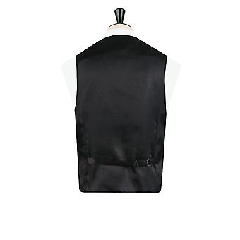 Dobell Mens Black/Silver Waistcoat Double Breasted Shawl Lapel Edwardian Swirl