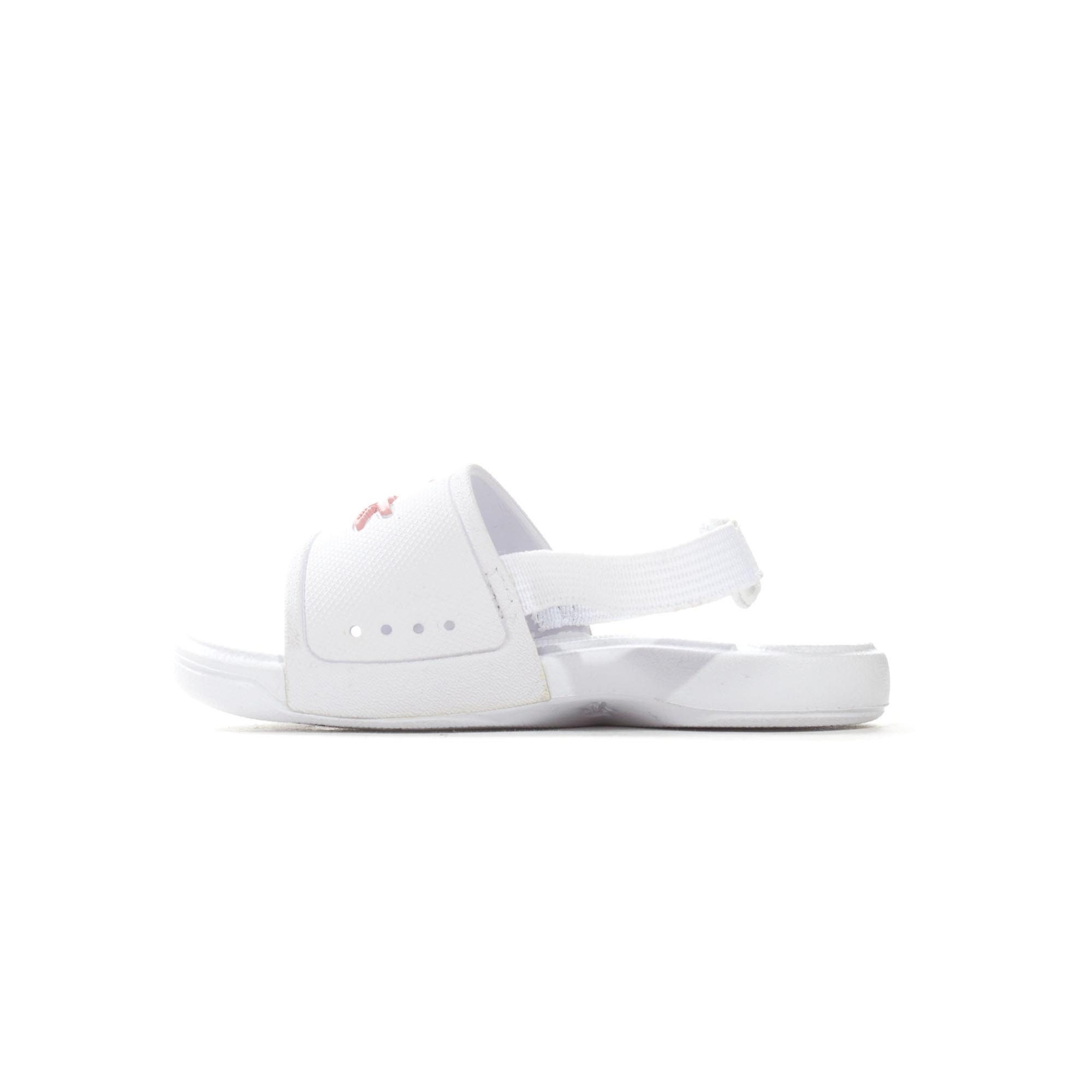 Lacoste L.30 Infant Kids Girls Summer Flip Flop Slide White/Pink