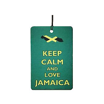 Mantenha a calma e amo o refrogerador de ar do carro de Jamaica