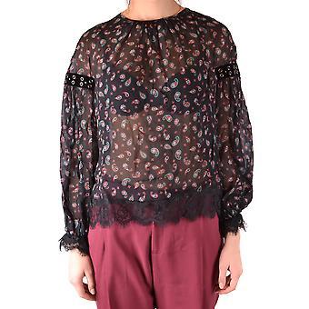 Pinko Ezbc056263 Kvinder's Sort Viscose Bluse