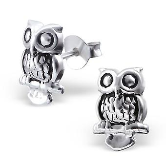 Perched Owl Sterling Silver Stud Earrings