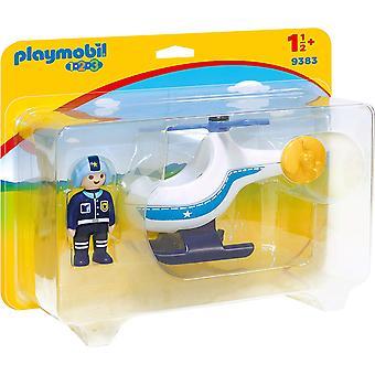 Playmobil 9383 1.2.3 polis helikopter med rörligt rotor blad