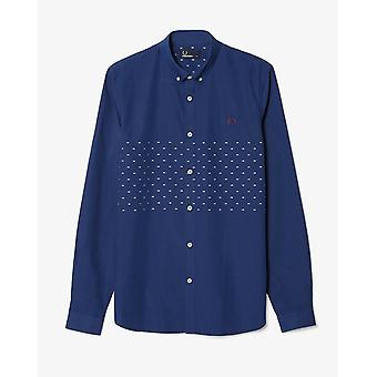 Fred Perry Men's Tipped Dobby Chest Long Sleeve Shirt - M7289-143