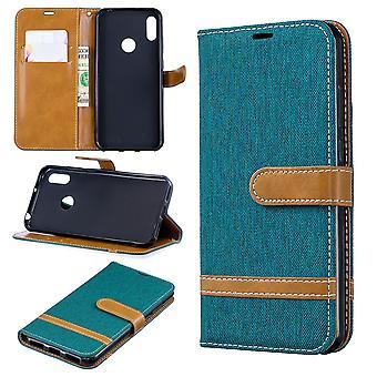 Huawei Y6 2019 telefoon geval beschermende geval geval cover Card Case portemonnee groen