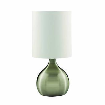 1 ljus bord touch lampa antik mässing med tyg skugga