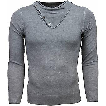 Casual sweater-Trendy collar Design buttons Men-Grey