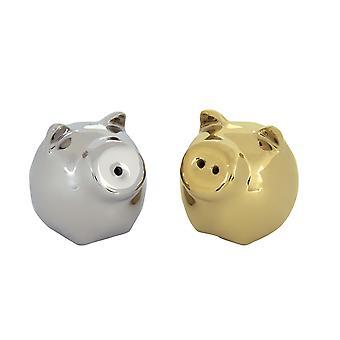 BIA Gold & Platinum Mini varken zout & peper Shaker potten