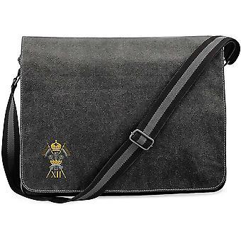 12th Royal Lancers - Licensed British Army Embroidered Vintage Canvas Despatch Messenger Bag