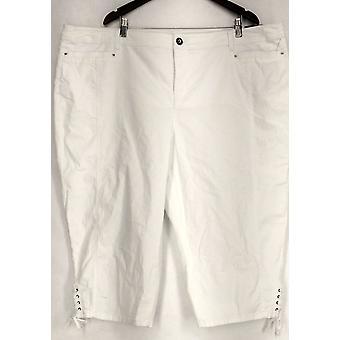 Estilo & Co. Plus calças barriga controle Capri branco Womens