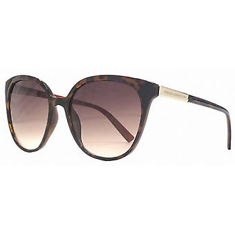 French Connection Slim Oversized Sunglasses - Brown/Gold