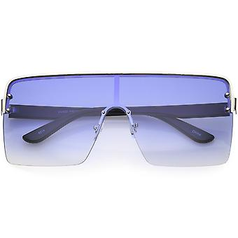 Large Futuristic Modern Mono Block Flat Top Shield Sunglasses 73mm