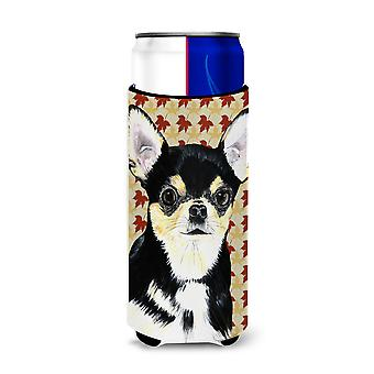 Chihuahua queda folhas retrato ultra bebidas isoladores para Slim latas SC9239MUK