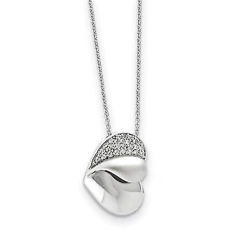 925 Sterling Silver Polished Gift Boxed Spring Ring Rhodium-plated Cubic Zirconia Glimpse Of My Heart 18inch Heart Neckl