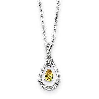 925 Sterling Silver Polished Spring Ring Novembro CZ Cubic Zirconia Simulado Colar de Diamante 18 Polegadas Joias Presentes para